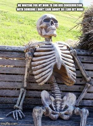 Waiting Skeleton Meme | ME WAITING FOR MY MOM TO END HER CONSERVATION WITH SOMEONE I DON'T CARE ABOUT SO I CAN GET HOME | image tagged in memes,waiting skeleton | made w/ Imgflip meme maker
