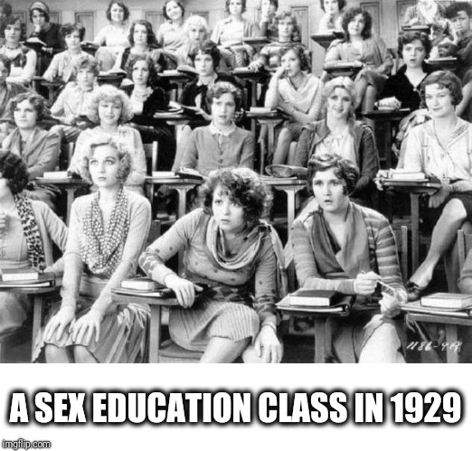 A sex education class in 1929 | A SEX EDUCATION CLASS IN 1929 | image tagged in sex,education,history,women,sexuality | made w/ Imgflip meme maker