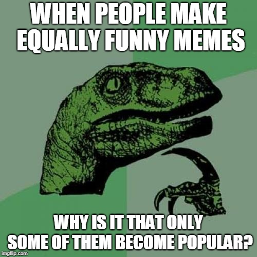 No really | WHEN PEOPLE MAKE EQUALLY FUNNY MEMES WHY IS IT THAT ONLY SOME OF THEM BECOME POPULAR? | image tagged in memes,philosoraptor | made w/ Imgflip meme maker