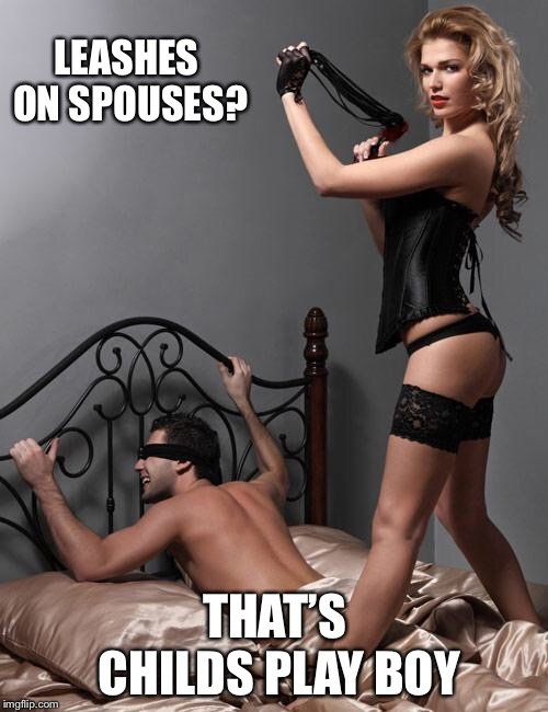Whipping Dominatrix | LEASHES ON SPOUSES? THAT'S CHILDS PLAY BOY | image tagged in whipping dominatrix | made w/ Imgflip meme maker