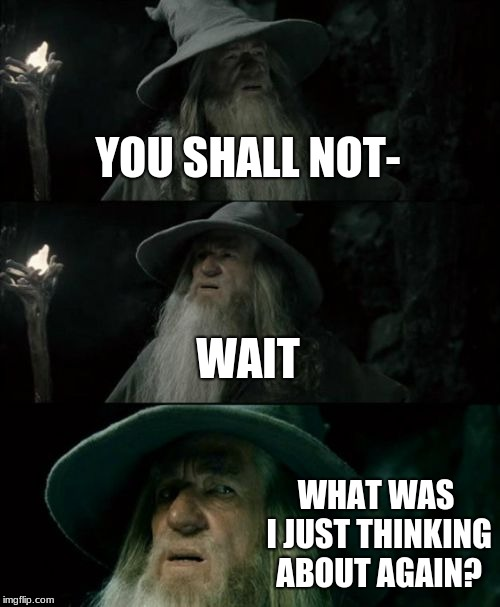 Confused Gandalf Meme | YOU SHALL NOT- WAIT WHAT WAS I JUST THINKING ABOUT AGAIN? | image tagged in memes,confused gandalf | made w/ Imgflip meme maker