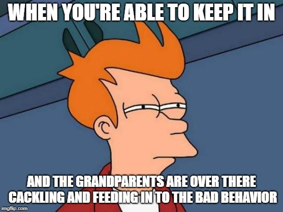 Futurama Fry Meme | WHEN YOU'RE ABLE TO KEEP IT IN AND THE GRANDPARENTS ARE OVER THERE CACKLING AND FEEDING IN TO THE BAD BEHAVIOR | image tagged in memes,futurama fry | made w/ Imgflip meme maker