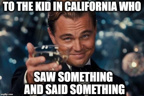 Lord knows how many lives this kid saved by telling authorities about a fellow student's mass shooting plans! |  TO THE KID IN CALIFORNIA WHO; SAW SOMETHING AND SAID SOMETHING | image tagged in memes,leonardo dicaprio cheers | made w/ Imgflip meme maker