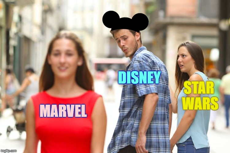Distracted Boyfriend Meme | MARVEL DISNEY STAR WARS | image tagged in memes,distracted boyfriend,disney,marvel,star wars | made w/ Imgflip meme maker