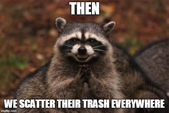 Evil racoon | THEN WE SCATTER THEIR TRASH EVERYWHERE | image tagged in evil racoon | made w/ Imgflip meme maker