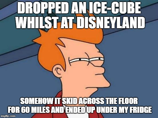 Futurama Fry Meme | DROPPED AN ICE-CUBE WHILST AT DISNEYLAND SOMEHOW IT SKID ACROSS THE FLOOR FOR 60 MILES AND ENDED UP UNDER MY FRIDGE | image tagged in memes,futurama fry | made w/ Imgflip meme maker