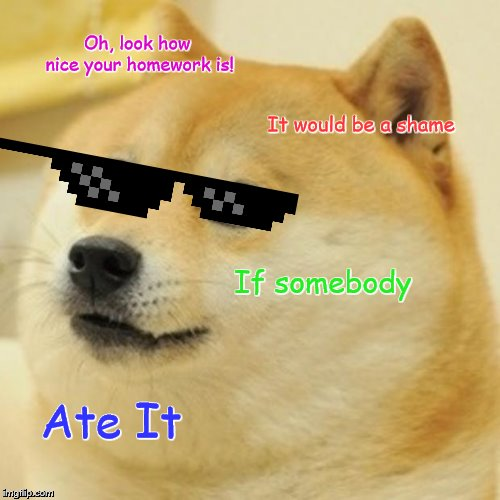 Doge |  Oh, look how nice your homework is! It would be a shame; If somebody; Ate It | image tagged in memes,doge | made w/ Imgflip meme maker