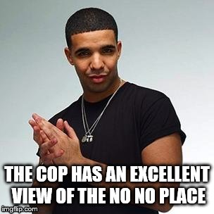 Horny Drake | THE COP HAS AN EXCELLENT VIEW OF THE NO NO PLACE | image tagged in horny drake | made w/ Imgflip meme maker