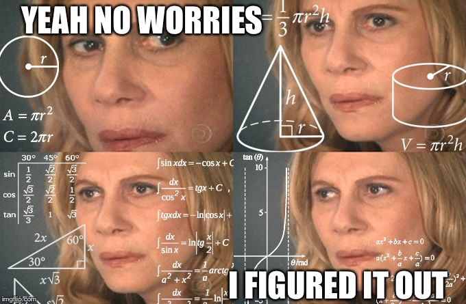 Solving | YEAH NO WORRIES I FIGURED IT OUT | image tagged in solving | made w/ Imgflip meme maker