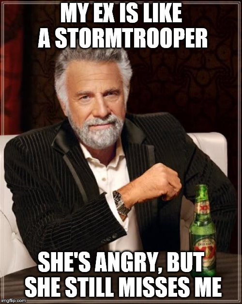 The Most Interesting Man In The World | MY EX IS LIKE A STORMTROOPER SHE'S ANGRY, BUT SHE STILL MISSES ME | image tagged in memes,the most interesting man in the world,ex girlfriend,stormtrooper,stormtrooper pick up liner,bad joke | made w/ Imgflip meme maker
