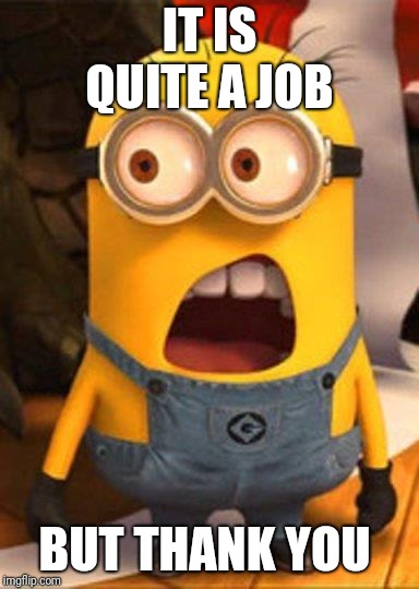 Minion Overwhelmed | IT IS QUITE A JOB BUT THANK YOU | image tagged in minion overwhelmed | made w/ Imgflip meme maker