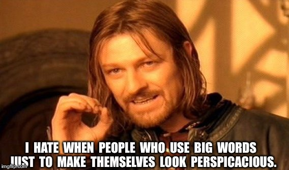 One Does Not Simply Meme | I  HATE  WHEN  PEOPLE  WHO  USE  BIG  WORDS  JUST  TO  MAKE  THEMSELVES  LOOK  PERSPICACIOUS. | image tagged in memes,one does not simply | made w/ Imgflip meme maker
