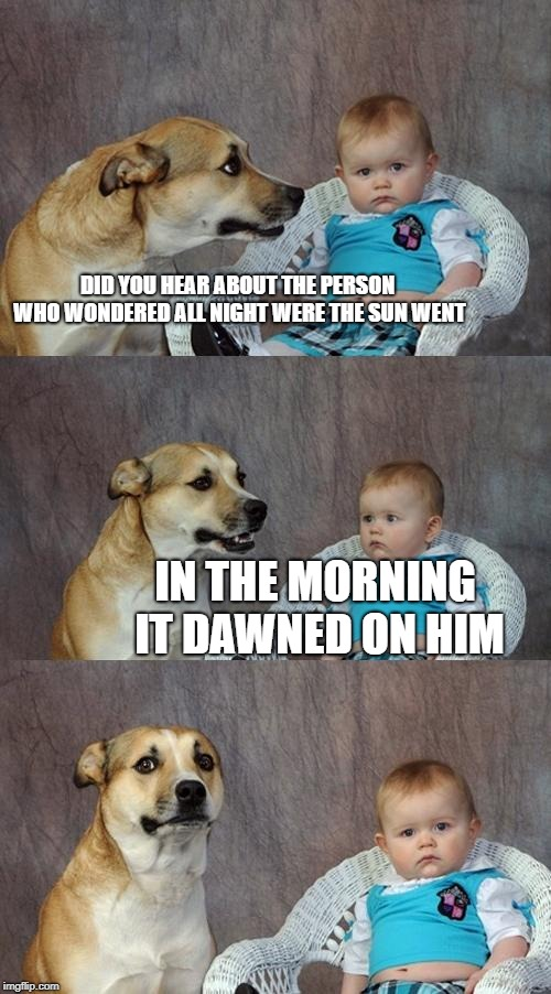 Dad Joke Dog Meme | DID YOU HEAR ABOUT THE PERSON WHO WONDERED ALL NIGHT WERE THE SUN WENT IN THE MORNING IT DAWNED ON HIM | image tagged in memes,dad joke dog | made w/ Imgflip meme maker
