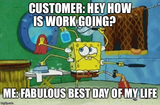 Work flow  | CUSTOMER: HEY HOW IS WORK GOING? ME: FABULOUS BEST DAY OF MY LIFE | image tagged in work,jobs,stressed meme,sarcasm | made w/ Imgflip meme maker