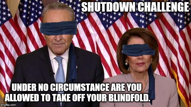 Never Take Off Your Blindfold | SHUTDOWN CHALLENGE UNDER NO CIRCUMSTANCE ARE YOU ALLOWED TO TAKE OFF YOUR BLINDFOLD. | image tagged in birdbox,democrats,shutdown | made w/ Imgflip meme maker