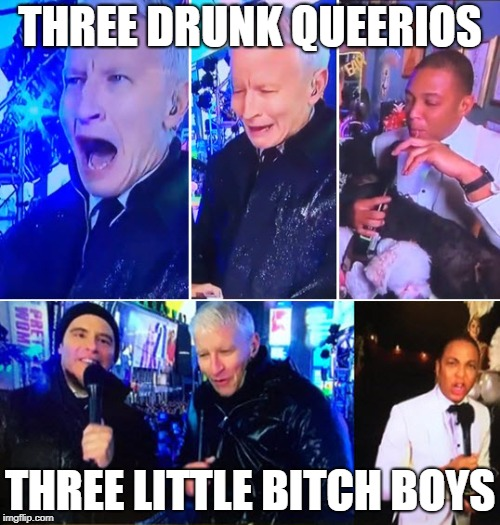 Three Drunk Queerios | THREE DRUNK QUEERIOS THREE LITTLE B**CH BOYS | image tagged in anderson cooper,don lemon,andy cohen | made w/ Imgflip meme maker