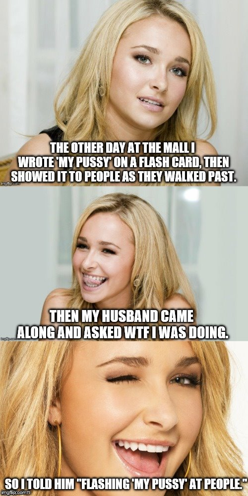 "Bad Pun Hayden Panettiere | THE OTHER DAY AT THE MALL I WROTE 'MY PUSSY' ON A FLASH CARD, THEN SHOWED IT TO PEOPLE AS THEY WALKED PAST. SO I TOLD HIM ""FLASHING 'MY PUSS 
