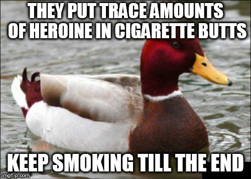 Malicious Advice Mallard Meme | THEY PUT TRACE AMOUNTS OF HEROINE IN CIGARETTE BUTTS KEEP SMOKING TILL THE END | image tagged in memes,malicious advice mallard | made w/ Imgflip meme maker