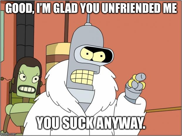 Bender | GOOD, I'M GLAD YOU UNFRIENDED ME YOU SUCK ANYWAY. | image tagged in memes,bender | made w/ Imgflip meme maker
