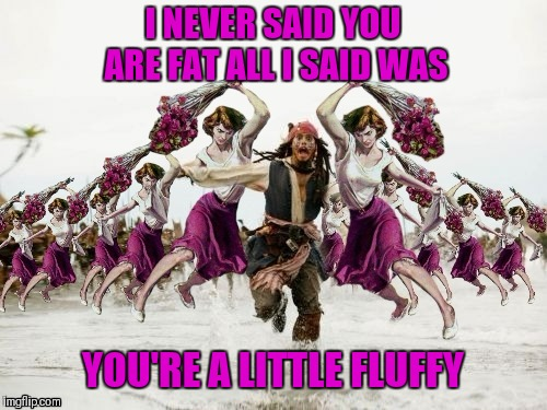 Jack Sparrow Beaten With Roses | I NEVER SAID YOU ARE FAT ALL I SAID WAS YOU'RE A LITTLE FLUFFY | image tagged in jack sparrow beaten with roses,beaten with roses,funny,44colt,memes 2019,fat | made w/ Imgflip meme maker