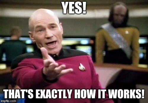Picard Wtf Meme | YES! THAT'S EXACTLY HOW IT WORKS! | image tagged in memes,picard wtf | made w/ Imgflip meme maker
