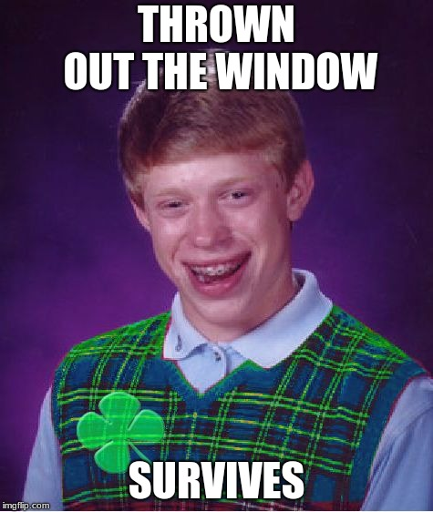 good luck brian | THROWN OUT THE WINDOW SURVIVES | image tagged in good luck brian | made w/ Imgflip meme maker