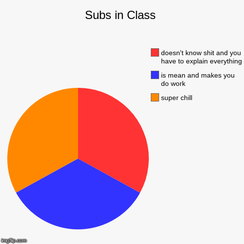 Subs in Class | super chill, is mean and makes you do work, doesn't know shit and you have to explain everything | image tagged in funny,pie charts | made w/ Imgflip chart maker