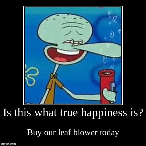 Squidward likes it | Is this what true happiness is? | Buy our leaf blower today | image tagged in funny,demotivationals,squidward,leaf blower | made w/ Imgflip demotivational maker