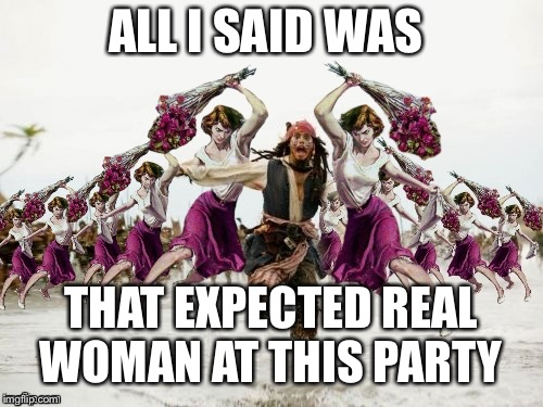 Jack Sparrow Beaten With Roses | ALL I SAID WAS THAT EXPECTED REAL WOMAN AT THIS PARTY | image tagged in jack sparrow beaten with roses | made w/ Imgflip meme maker