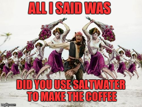 Jack Sparrow Beaten With Roses | ALL I SAID WAS DID YOU USE SALTWATER TO MAKE THE COFFEE | image tagged in jack sparrow beaten with roses,beaten with roses,funny,coffee,saltwater,44colt | made w/ Imgflip meme maker