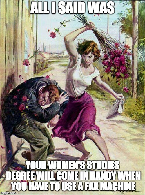 Beaten with Roses | ALL I SAID WAS YOUR WOMEN'S STUDIES DEGREE WILL COME IN HANDY WHEN YOU HAVE TO USE A FAX MACHINE | image tagged in beaten with roses | made w/ Imgflip meme maker