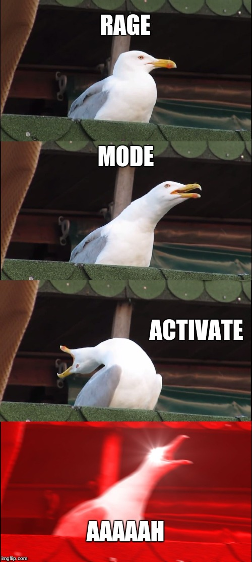 rage mode | RAGE MODE ACTIVATE AAAAAH | image tagged in memes,inhaling seagull | made w/ Imgflip meme maker