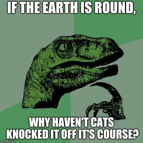 Philosoraptor Meme | IF THE EARTH IS ROUND, WHY HAVEN'T CATS KNOCKED IT OFF IT'S COURSE? | image tagged in memes,philosoraptor | made w/ Imgflip meme maker
