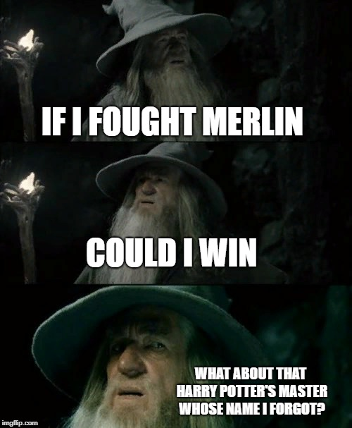 Confused Gandalf | IF I FOUGHT MERLIN COULD I WIN WHAT ABOUT THAT HARRY POTTER'S MASTER WHOSE NAME I FORGOT? | image tagged in memes,confused gandalf | made w/ Imgflip meme maker