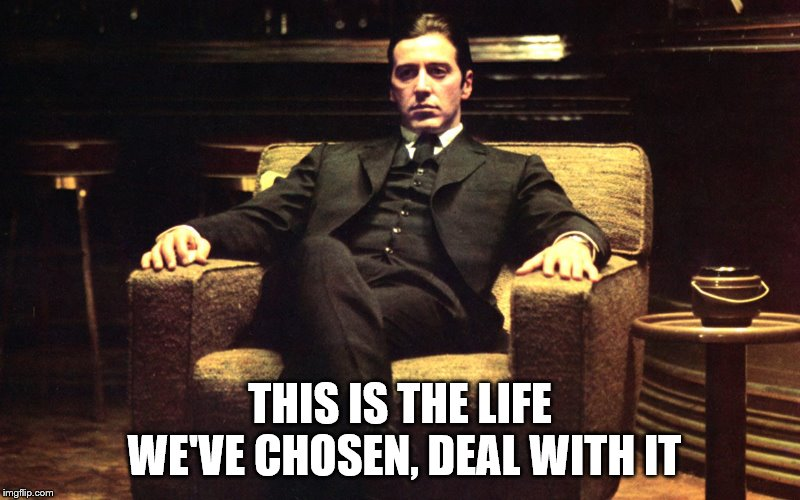 Al Pacino, Godfather | THIS IS THE LIFE WE'VE CHOSEN, DEAL WITH IT | image tagged in al pacino godfather | made w/ Imgflip meme maker