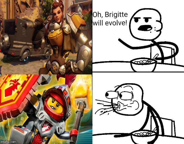 Brigitte Evolution | image tagged in nexo knights,overwatch,brigitte,macy,cereal guy spitting | made w/ Imgflip meme maker