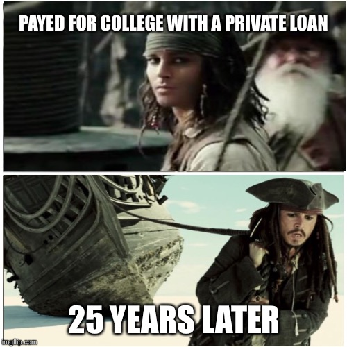 taken splitscreen | PAYED FOR COLLEGE WITH A PRIVATE LOAN 25 YEARS LATER | image tagged in taken splitscreen | made w/ Imgflip meme maker