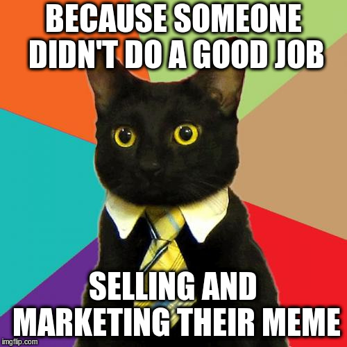 Business Cat Meme | BECAUSE SOMEONE DIDN'T DO A GOOD JOB SELLING AND MARKETING THEIR MEME | image tagged in memes,business cat | made w/ Imgflip meme maker