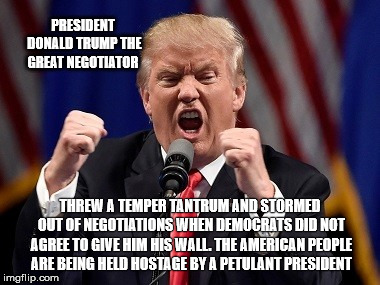 PRESIDENT DONALD TRUMP THE GREAT NEGOTIATOR; THREW A TEMPER TANTRUM AND STORMED OUT OF NEGOTIATIONS WHEN DEMOCRATS DID NOT AGREE TO GIVE HIM HIS WALL. THE AMERICAN PEOPLE ARE BEING HELD HOSTAGE BY A PETULANT PRESIDENT | image tagged in trump,resist,notmypresident,resistance,impeachtrump,gop | made w/ Imgflip meme maker
