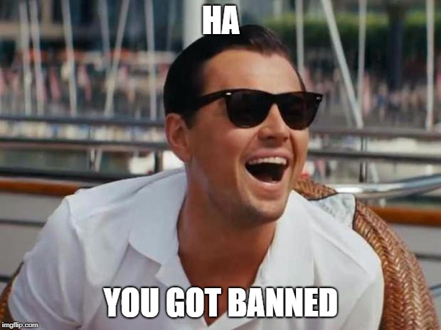 haha | HA YOU GOT BANNED | image tagged in haha | made w/ Imgflip meme maker