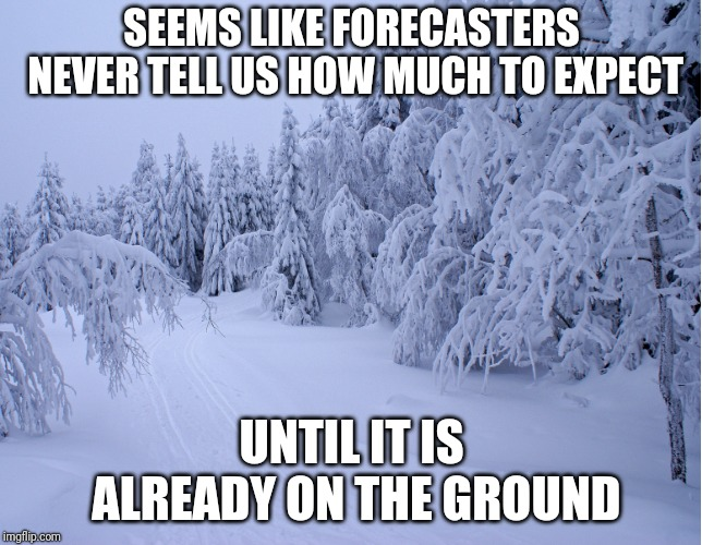 Why U No Give Us Inches? | SEEMS LIKE FORECASTERS NEVER TELL US HOW MUCH TO EXPECT UNTIL IT IS ALREADY ON THE GROUND | image tagged in snow,forecast | made w/ Imgflip meme maker