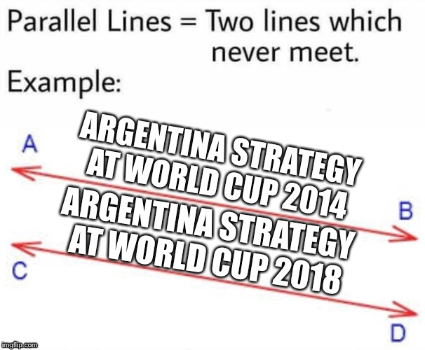 Parallel Lines | ARGENTINA STRATEGY AT WORLD CUP 2014 ARGENTINA STRATEGY AT WORLD CUP 2018 | image tagged in parallel lines,memes,argentina,world cup,strategy | made w/ Imgflip meme maker