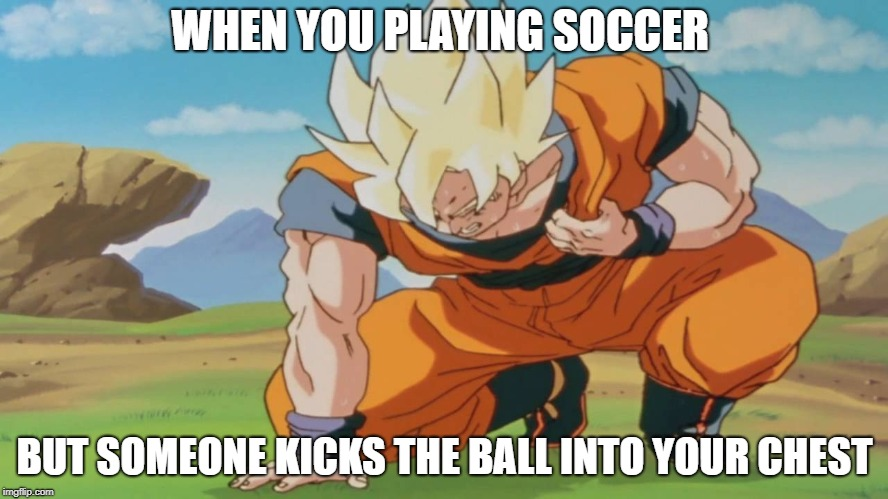 WHEN YOU PLAYING SOCCER BUT SOMEONE KICKS THE BALL INTO YOUR CHEST | image tagged in goku virus | made w/ Imgflip meme maker