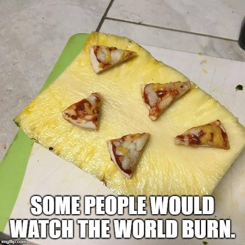 SOME PEOPLE WOULD WATCH THE WORLD BURN. | image tagged in pineapple pizza | made w/ Imgflip meme maker