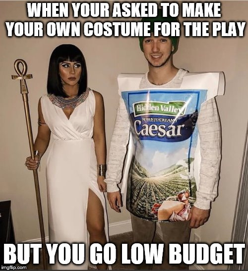 Cleopatra Looks Pissed! | WHEN YOUR ASKED TO MAKE YOUR OWN COSTUME FOR THE PLAY BUT YOU GO LOW BUDGET | image tagged in julius caesar,life hack,funny,thats not what i meant,roflmao,funny picture | made w/ Imgflip meme maker