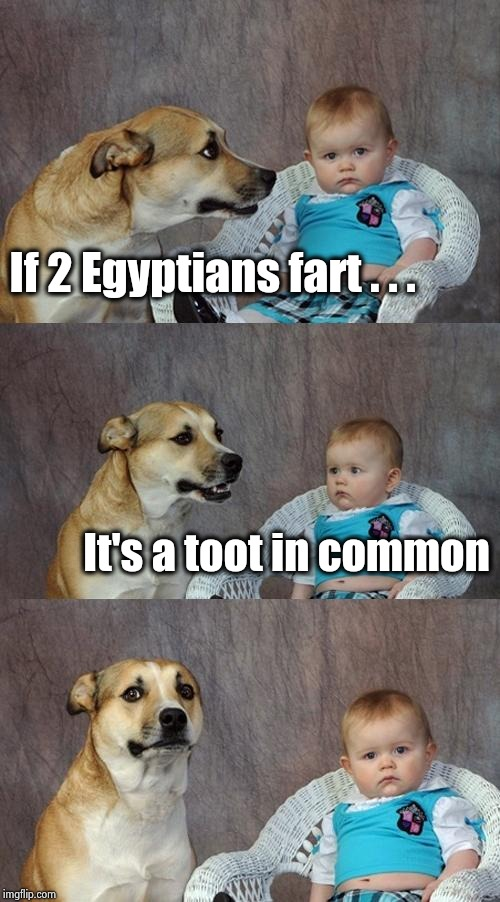 Here's to the Boy King |  If 2 Egyptians fart . . . It's a toot in common | image tagged in memes,dad joke dog,king,egypt,mummy,ancient aliens | made w/ Imgflip meme maker