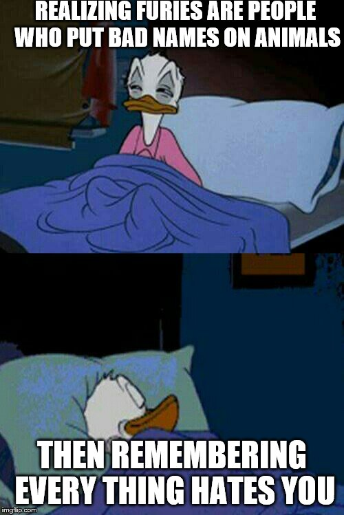 sleepy donald duck in bed | REALIZING FURIES ARE PEOPLE WHO PUT BAD NAMES ON ANIMALS THEN REMEMBERING EVERY THING HATES YOU | image tagged in sleepy donald duck in bed | made w/ Imgflip meme maker