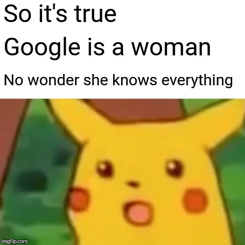 Surprised Pikachu Meme | So it's true Google is a woman No wonder she knows everything | image tagged in memes,surprised pikachu | made w/ Imgflip meme maker