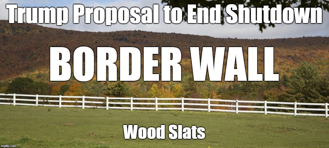 Trump Proposal to End Shutdown:  Border Wall with Wood Slats | Trump Proposal to End Shutdown Wood Slats BORDER WALL | image tagged in trump,trump wall,trump shutdown,border wall,build the wall | made w/ Imgflip meme maker