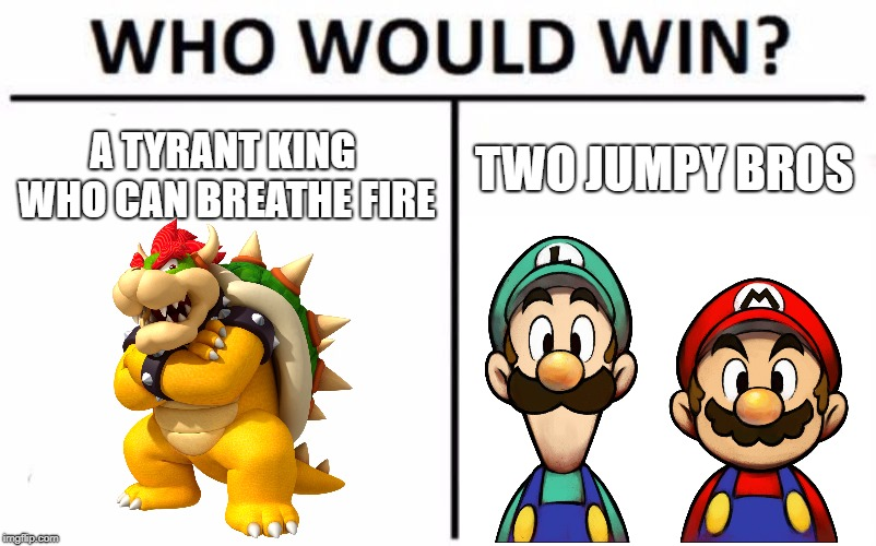 Who Would Win? | A TYRANT KING WHO CAN BREATHE FIRE TWO JUMPY BROS | image tagged in memes,who would win | made w/ Imgflip meme maker